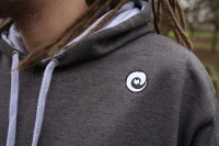 The Varsity Hoodie in Charcoal and Heather grey.