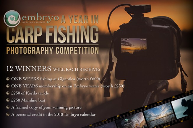Get your photo in the 2018 Embryo Angling calendar