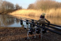 Monkey looks after Neil's rods as dusk draws in