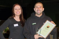 Ali accepts our awards from Carp Talk's Bev Clifford