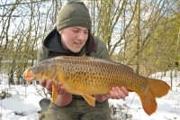 Joe's first action of  a snowy March day was this 14lb common